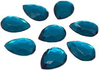 Eimass® Lot de 50 strass en acrylique en forme de goutte Bleu 13 x 18 mm