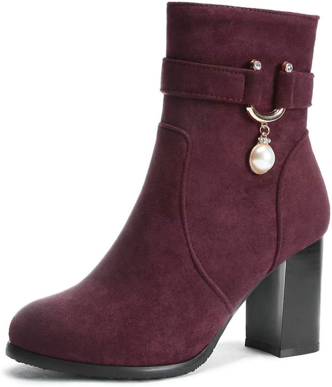 AdeeSu Womens Chunky Heels Metal Buckles Zipper Imitated Suede Boots SXC03284