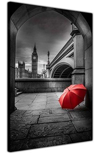 Leinwandbild Big Ben mit rotem Regenschirm, Schwarz und Weiß, für Wohnzimmer, Schlafzimmer, Büro, 18 mm dick, Rahmengröße: A3, 40 x 30 cm
