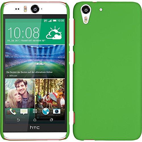 PhoneNatic Hülle kompatibel mit HTC Desire Eye - Hülle grün gummiert Hard-case + 2 Schutzfolien