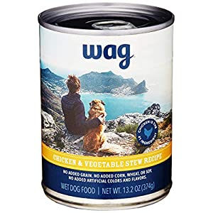 Amazon Brand – Wag Wet Canned Dog Food, Chicken & Vegetable Stew Recipe, 13.2 oz Can (Pack of 12)