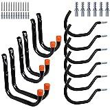 BRIMIX 12 Ganchos dobles de pared universal para garaje, trastero, almacén y despensa. Soporte fuerte para colgar y organizar herramientas, bicicleta, escalera, ollas, paellas.