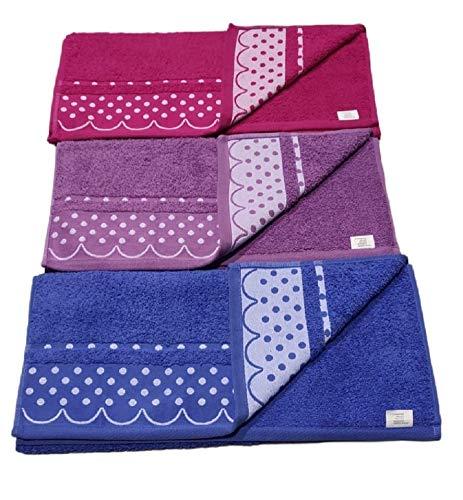 Toallas Lavabo algodón portugués 450/500g Set 3 Piezas azulon,Morado,Fucsia de Lunares 50_x_100 cm.