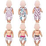 ZITA ELEMENT Ropa de muñeca de 18 pulgadas para muñecas americanas de 18 pulgadas, muñeca de bebé, 3 juegos de pijamas + 3 piezas de calzoncillos