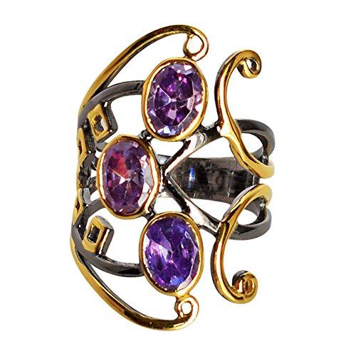 Auténtica amatista piedra preciosa 925 plata esterlina rodio negro anillo chapado en oro para niñas Sz8 FSJ-620