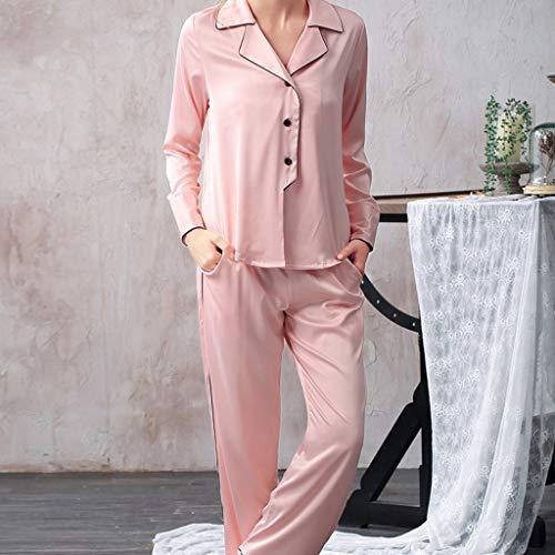 LXDWJ Satin Pijamas Set Mujer Pijama Set Silk Pijamas para Mujer Seda Satin Pijamas Traje Botón Down Long Silky Nightwear Loungewear (Color : C, Size : Medium)