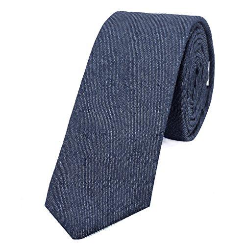 DonDon Corbata estrecha de algodón para hombres de 6 cm con look estilo vaquero Jeans - azul
