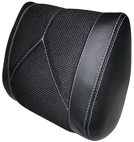 AERZETIX - Hoofdsteunkussen van echt leer en ademend textiel - voor auto/stoelen - zwart leer kleur - lichtgrijze naden