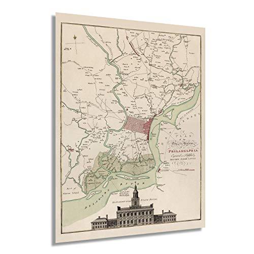 Historix Vintage 1777 Karte von Philadelphia Pennsylvania – 45,7 x 61 cm Vintage Karte von Philadelphia City Wall Art – Plan der Stadt Philadelphia Karte Druck mit Gr&besitzer (2 Größen)
