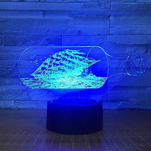 3D Illusion LED Nachtlampe Fahrrad Lichter 3D Lampe Das Black Pearl Schiff Boot 3D Nachtlicht Acryl LED Lampe 7 Farben Ändern Nachtbett Spielzeug für Kinder Weihnachtsgeschenk mit Fernbedienung