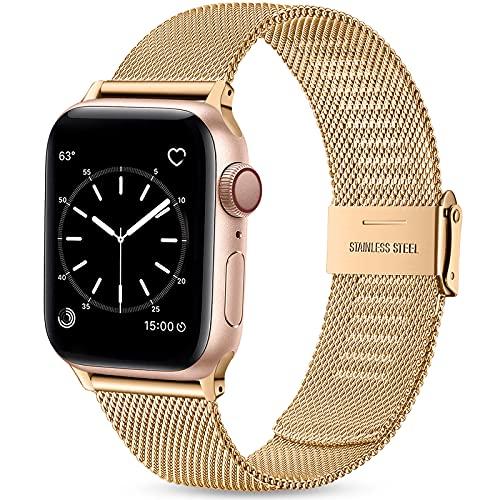 Wepro Ersatzarmband Kompatibel mit Apple Watch Armband 40mm 38mm für Damen/Herren, Klassisches Mesh Metall Uhrenarmband für Apple Watch SE/iWatch Series 6 5 4 3 2 1, 40mm 38mm/Königliches Gold