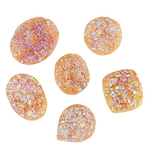 GEMHUB Druzy Stone Yellow Color 120 Carat Lot of 6 Pcs Mix Shape Loose Gemstone for Jewelry Making