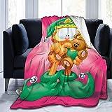 Lsjuee Garfield and Little Bear Blanket Manta de Microfibra de Franela Mantas de Tiro Super Suave Fuzzy Luxury Adecuado para Cama Sofá Travel Four Seasons Manta 80 x60