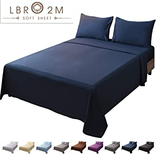 LBRO2M Bed Sheet Set Full Size 16 Inches Deep Pocket 1800 Thread Count 100% Microfiber Sheet,Bedding Super Soft Quality Hypoallergenic Breathable,Resistant Fade Wrinkle Cool Warm,4 Piece(Navy Blue)