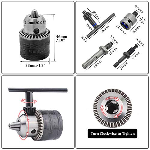 Hymnorq 3/8-24UNF Keyed Drill Chuck and Adapters Set of 5pcs, 1.5mm to 10mm Clamping Range, 3 Different Types of Shanks, to Turn Your Air Screwdriver, Hammer Drill and Impact Wrench into a Power Drill