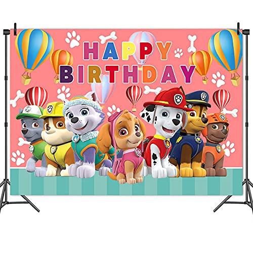 Fondo de Fotografía de Patrulla de Perro Pata ,Fondo de Dibujos Animados, Baby Shower y Accesorios de Cabina de Estudio Fotográfico Fiestas de Cumpleaños para Niños,Decoración de Fiesta Etc