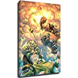 Anime Game Overwatch Poster Junkrat And Roadhog Picture Art Print Canvas Wall Art Home Room Decor Frame-style1 28×40inch(70×100cm)