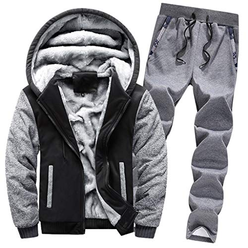 Mens Hoodie Winter Warm Fleece Zipper Sweater Jacket Outwear Coat Top Pants Sets Black