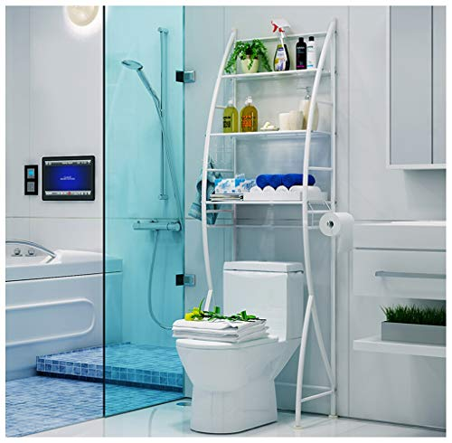 Gjfhome over de wc opslag rack badkamer plank, 3-Tier ruimte Saver opslag Organizer vrijstaande planken voor bad Essentials, planten, boeken, enz.