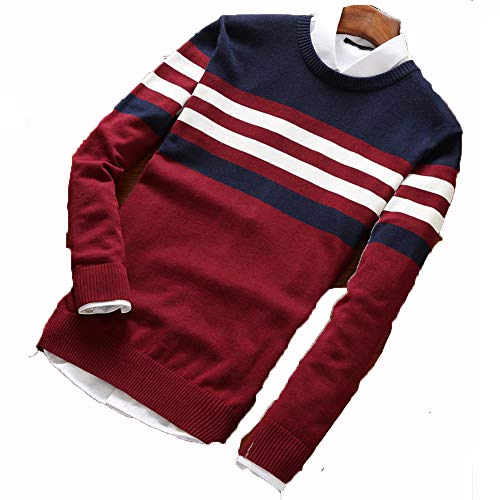 Bowen Jimmy Sweater Men Pullover Men Autumn Round Neck Patchwork Quality Knitted Male Sweaters Red Wine L