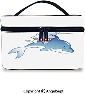 Professional Travel Makeup Bag, and the cat were riding a dolphin Theme Print Decorative Multi,10x7x6inches,Cosmetic Cases Organizer Portable Storage