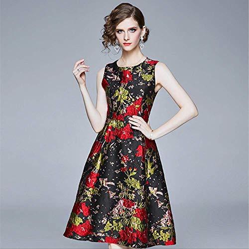 Vrouwen Mouwloze O-Hals Vest Jurk Elegante Vintage Rode Bloemen Jacquard Jurk Partij Zomer Baljurk Jurk