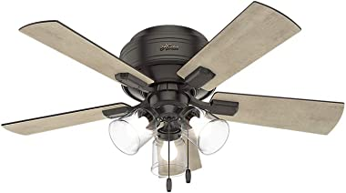 """Hunter Crestfield Indoor Low Profile Ceiling Fan with LED Light and Pull Chain Control, 42"""", Noble Bronze"""