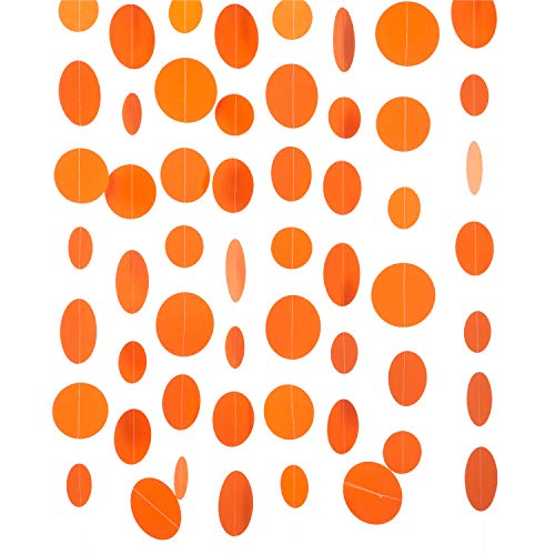 WEVEN Orange Paper Garland Circle Dot Party Banner Streamer Backdrop Hanging Decorations, 20 Feet in Total
