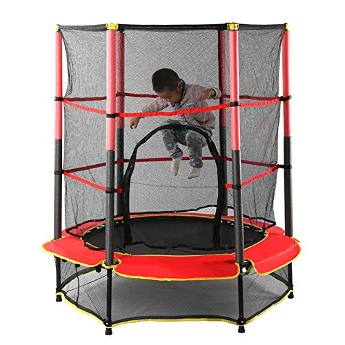Indoor Trampoline Round Jumping Table with Safety Enclosure Net Spring Pad, Maximum Load 50Kg