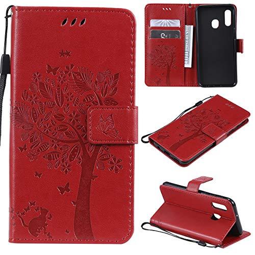 SHUYIT Samsung Galaxy A20e Hülle, Baum Katze Muster PU Leder Hülle Brieftasche Flip Cover Case Ledertasche Schutzhülle Handyhüllen für Samsung Galaxy A20e Schale mit Ständer Kartenfach Magnetisch