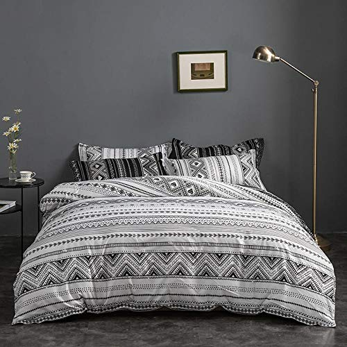 Påslakan King Size King (230 x 220 cm) sängkläder dubbelsäng med dold dragkedja 4 örngott för vuxna - nordisk stil off-white