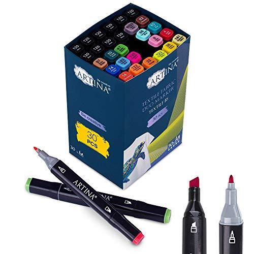 Artina rotuladores textiles permanentes Textile BS – Set de 30 colores textiles – 20 colores + 10 rotuladores negros - pintura textil marcador ropa niños – juego de rotuladores para textil