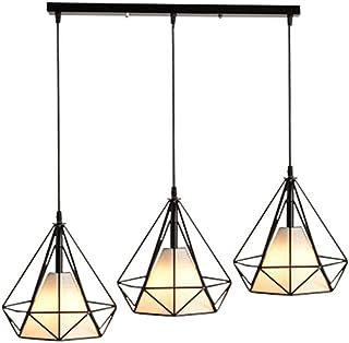 Lampara Colgante Moderno 3 Pantalla Diamante Vara Largo Cage Pájaro Jaula de Hierro Luz de Techo Metal Decoracion de Comedor Cocina Sala con Cubierto de Tela
