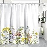 Cortina de ducha de tela con flores en 3D, TANOSAN, impermeable, con 12 ganchos de plástico, accesorios de baño modernos decoración de 152 x 152 cm
