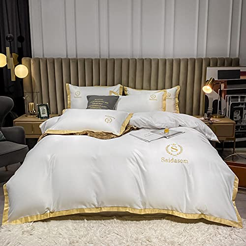 Bedding-LZ Juegos de sábanas de 80,Lavado de Agua de Verano Bordado de Seda Set de lecho de lecho de Color sólido de Cuatro Camas-Y_1,5 m la Cama 4 Piezas - Edredón 200 * 230cm