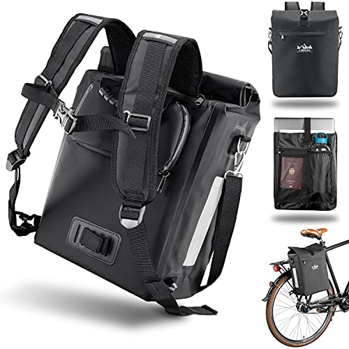 LERAI® Version 2.0 - 3in1Fahrradtasche für Gepäckträger 18L, wasserdicht & reflektierend - Rucksack, Gepäckträger-Tasche & Umhängetasche Kombi mit Laptopfach Packtasche Gepäcktaschen hinten