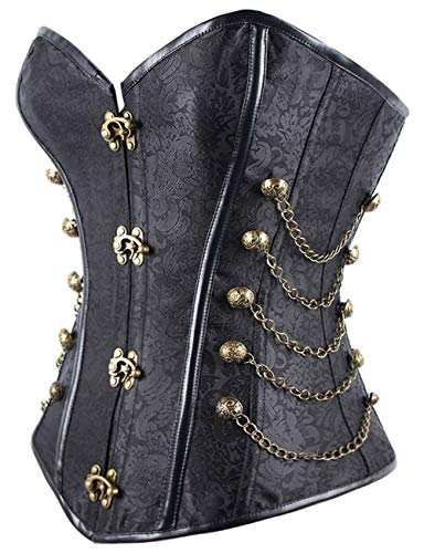 FeelinGirl Women Corset with Faux Leather and Brocade Pattern Gothic Vintage Corset Top Steampunk Corset Top Gothic Rockabilly Vintage Black L UK10-L steampunk buy now online