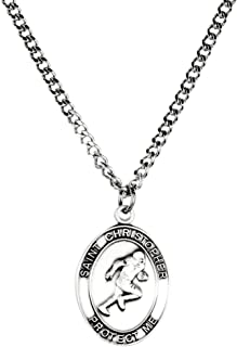 Mens Pewter Saint Christopher Sports Athlete Medal, 1 Inch