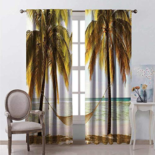 Holiday Decorations Blackout curtain Seascape Hammock Palm Trees on Shore Tropical Beach Sunset 2 panels W52 x L63 Inch