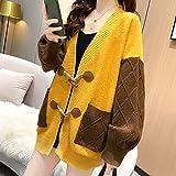 ZXCHB Suéter de mujer Cardigan Otoño, Chaqueta de punto floja femenina Femenino Primavera y abrigo de moda de otoño Suéter (Color : Yellow, Size : S code)