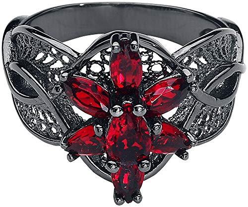 Herr der Ringe/Hobbit Schmuck by Schumann Design Arwens Abendstern Ring Filigran aus 925 black - CZ red 62 (19,7 mm Ø)
