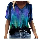 KEYEE Women T Shirts Colorful Print Cute Graphic Tees Summer Funny Casual Short Sleeve Tops T-Shirt Tunics Blue