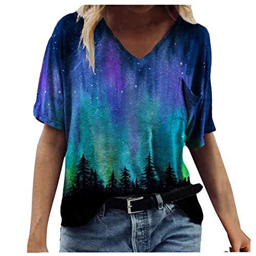 Kurzarm T-Shirt Oberteil Druckbluse Geschenk Sommer Top Damen Ärmeln Bluse Elegante Lässige Mode mit Buntem 2021 Neue Crop Tops (F-Blau, XXL)