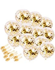 20 Pcs Gold Confetti Balloons, 12'' Large Party Balloons Party Supplies for Party Decorations, Birthday, Baby Shower, Bridal Shower, Graduation, wedding,Bachelorette Party