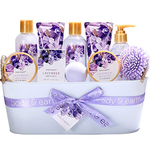 Bath Spa Gift Basket, Body & Earth Bath Gift Set 12 Pcs Lavender Scented, Includes Shower Gel, Bubble Bath, Bath Salt, Bath Bomb, Body Lotion and More, Bath and Body Gift Idea for Valentine's Day