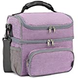 FlowFly Double Layer Cooler Insulated Lunch Bag Adult Lunch Box Large Tote Bag for Men, Women, With...
