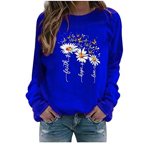 Xmiral Sweatshirt Pullover Damen Langarm Rundhals Gedruckt Lässiger Blusen Oberteile Herbst Winter Lose Warmes Bottoming Shirt(a-Blau,XL)