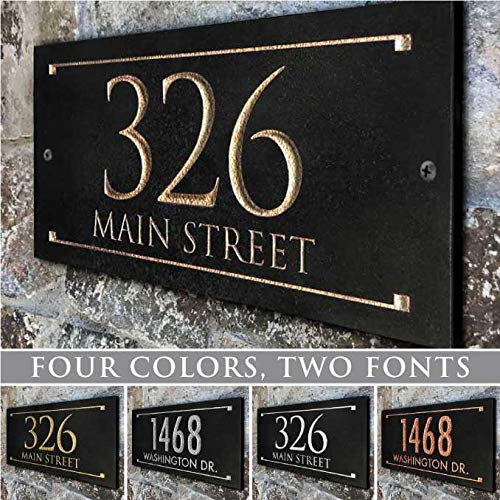 Fast-Ship, Stone Address Plaque With Engraved Numbers. Address Sign Made from solid, real stone.