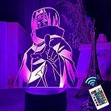 3D Anime Uchiha Itachi lamp, LED Anime Night Light for Kids, Japan Itachi Ninja Heros, 16 Colors with Remote Kids Bedroom Lamp led Night Light for Kids