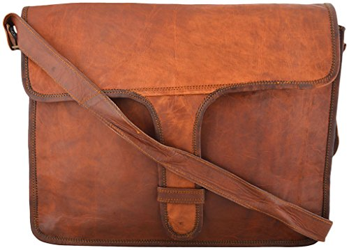 Rustic Leather Village Goat Vintage Leather Laptop Sleeve Bag Padded Inside 11152 Inches Brown